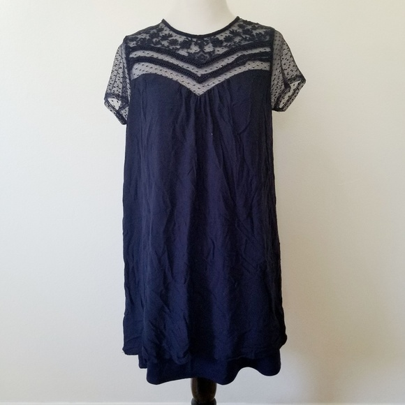 Navy Lace Mini Dress with Short Sleeves